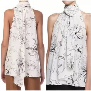 Diane Von Furstenberg silk top scarf tie neck